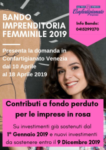 Locandina BANDO IMPRENDITORIA FEMMINILE 2019